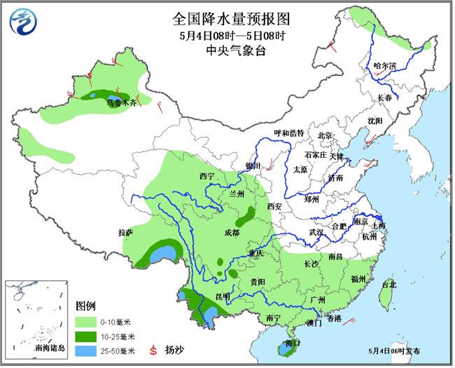 4日至6日南方地区有明显降雨过程