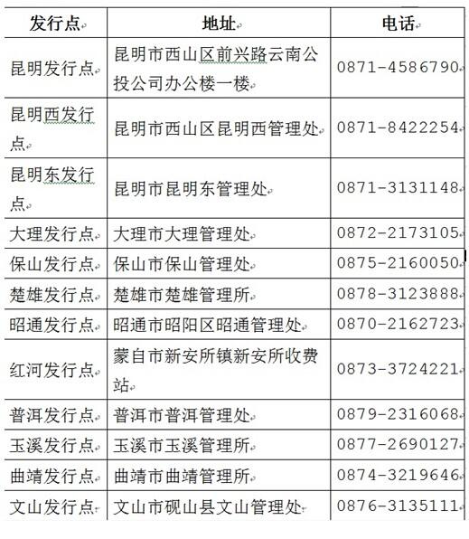 云南省高速公路ETC电子不停车收费客服网点一览表